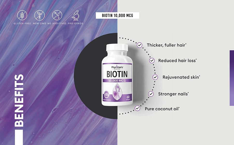 biotin hair nails skin restore repair renew growth thinning women organic coconut oil gomct mct