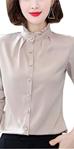 pleated stand collar shirt