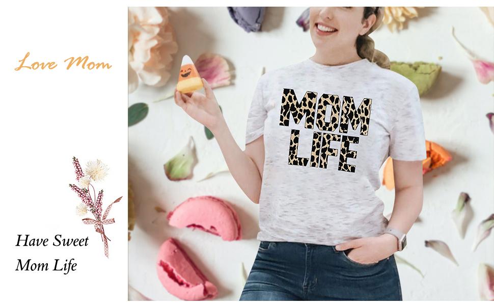Mother/'s Day Mom T-shirt  Mom Life Shirt Mom Shirt Cool Mom Tee Mom Leopard Shirt Happy Mama Shirt Cool Mom Shirt Mama Bear