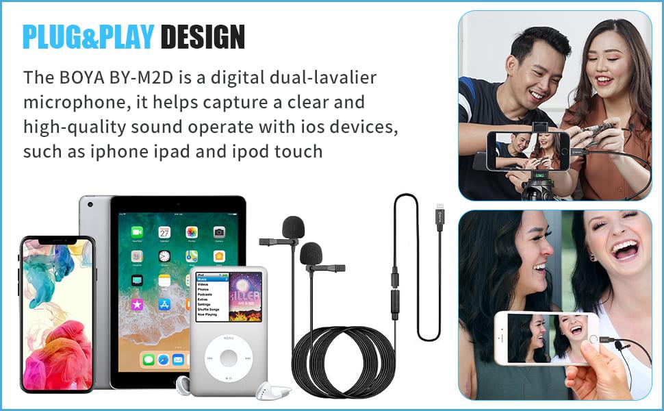 boya dual lavalier lapel iphone lightning microphone