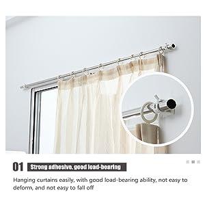 4 Self-Adhesive Curtain Rod Bracket Drapery Hook Holders Fixing Rod Holder Curtain Pole Wall Brackets Towel Rod Hooks for Home Bathroom and Hotel Use