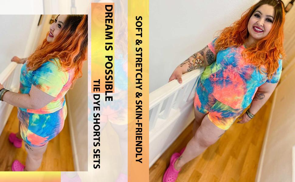 tie dye shorts sets for women