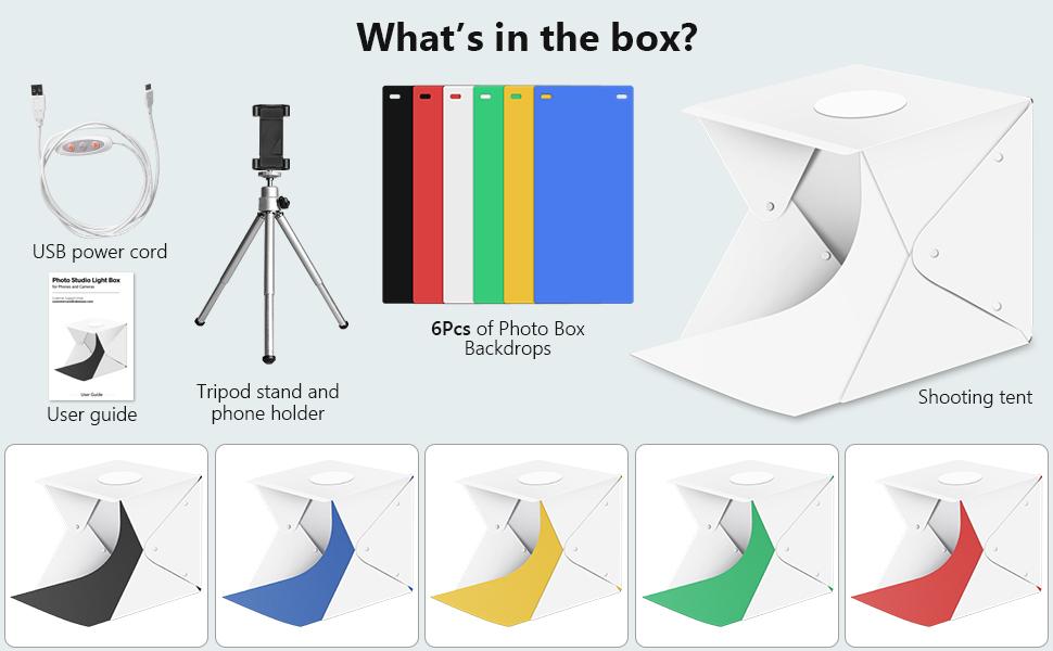 light box with backdrops mini tripod