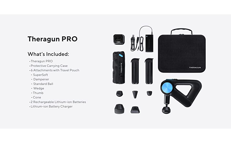 theragun G3PRO with 2 speeds 6 attachments case for recovery muscle activation massage