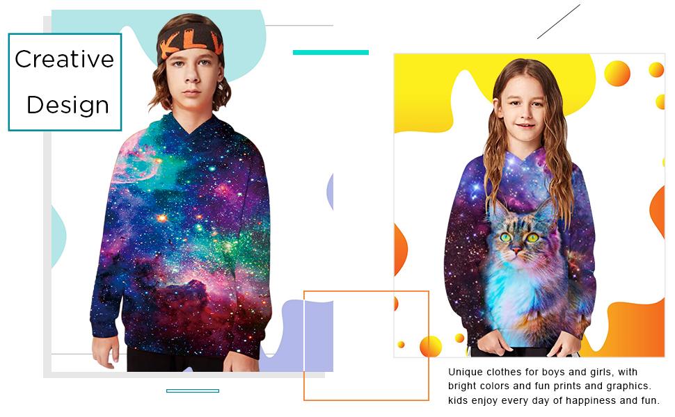 Enfants Garçon Fille Nouveauté Creative 3D Imprimé Sweat à capuche Pullover Running Tops