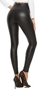 Leggings Simili Cuir Taille Haute Sexy Femme