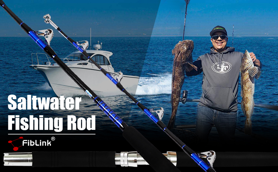 Saltwater Offshore Heavy Trolling Fishing Rod Big Game Conventional Boat Fishing Roller Rod