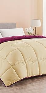 Down alternative reversible comforter_wheat/burgundy