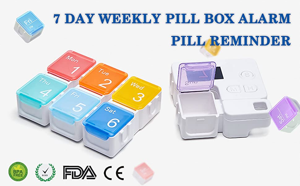 weekly pill box with alarm