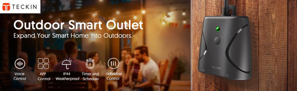 Enchufe Exterior Impermeable TECKIN 16A 4000W Enchufe WiFi App Compatible con Amazon Alexa, Google Home y IFTTT+