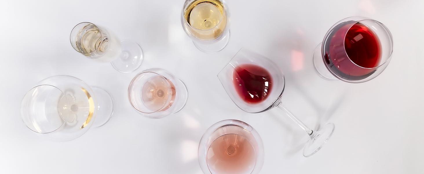 set calici da vino rosso bianco champagne eleganti con stelo lungo