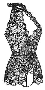 Trasparente Camicia da Notte in Pizzo Hollow Halter Pigiama Vestaglia Lace