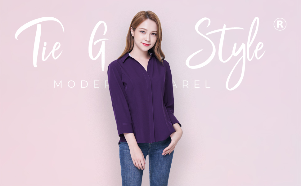 womens blouse collared dresses business casual collar purple office red cotton blue pink plus size
