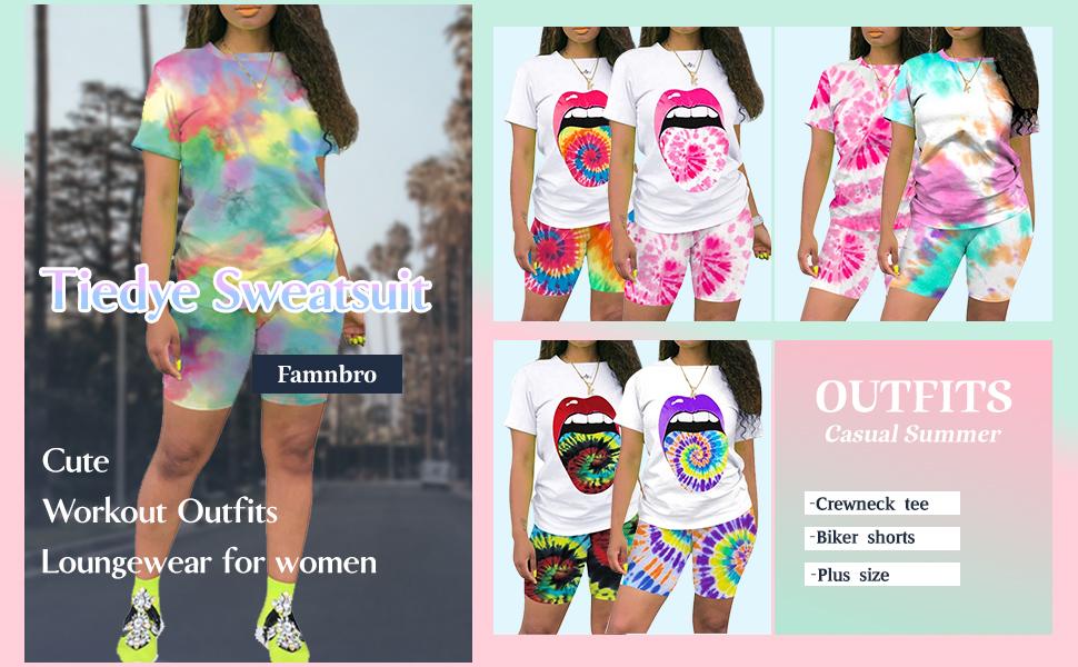 Famnbro Women Tracksuit 2 Piece Outfits Short Sleeve Shorts Pants Print Sportswear Set