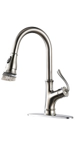APPASO Single Handle Pull Down Kitchen Faucet with Magnetic Docking Sprayer Brushed Nickel