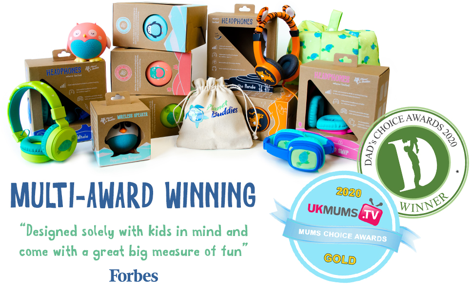 planet buddies, kids products, eco, kids headphones, headphones, speakers, award winning, forbes