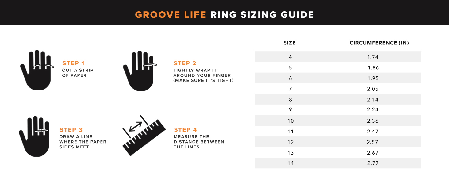 Groove Life Silicone Wedding Ring Sizing Guide