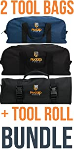 3 Piece Bundle: Tool Bag Combo - 2 Piece Tool Bag Set + 1 Tool Roll