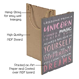 Something Unicorn College Dorm and Unicorn Room Decoration Essential Item for Unicorn Wall Decor Nursery Room GrayPink Inspirational Rustic Wall Hanging Sign for Girls Bedroom 12x17 in
