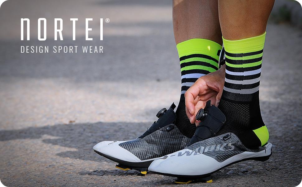 NORTEI - Calcetines de Ciclismo, MTB y Running de Meryl para Hombre y Mujer – Aero (S(37-39), Fluor Orange): Amazon.es: Deportes y aire libre