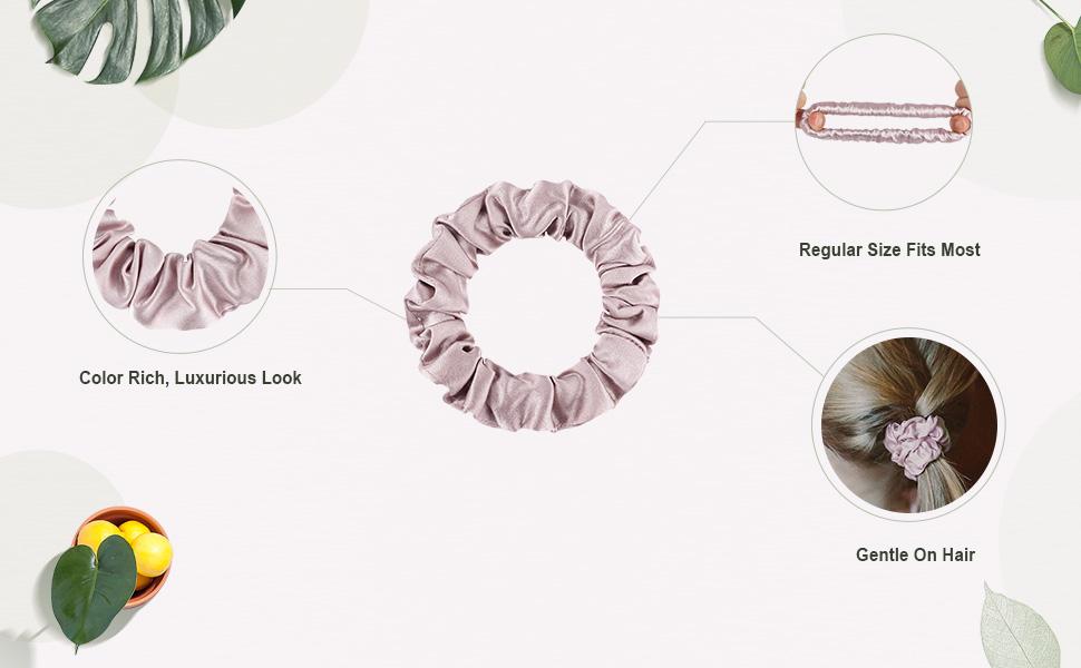 LilySilk 100% Pure Silk Charmeuse Scrunchy -Regular -Scrunchies For Hair - Silk Scrunchies