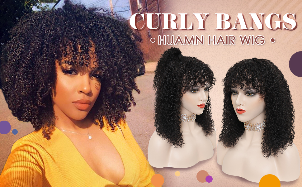 lace front wigs human hair wigs bangs kinky curly human hair wigs bangs curly human hair wig bangs