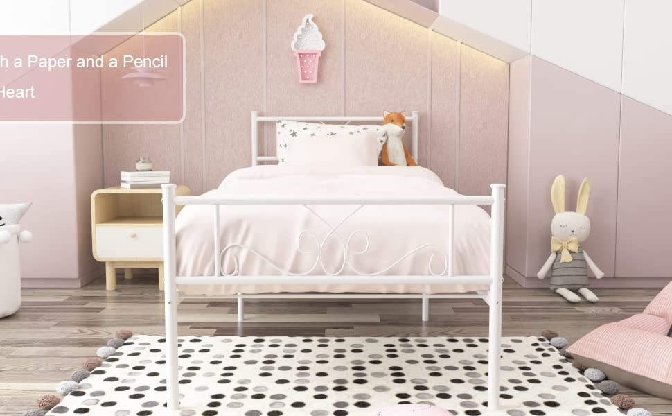 twin bed frame  SimLife Single Bed Platform Kids Boys Adult No Box Spring Needed Princess White Twin Size Bed Frame with Headboard and Footboard Mattress Foundation 4f30a243 45ac 47a6 89d4 1a430780d51e