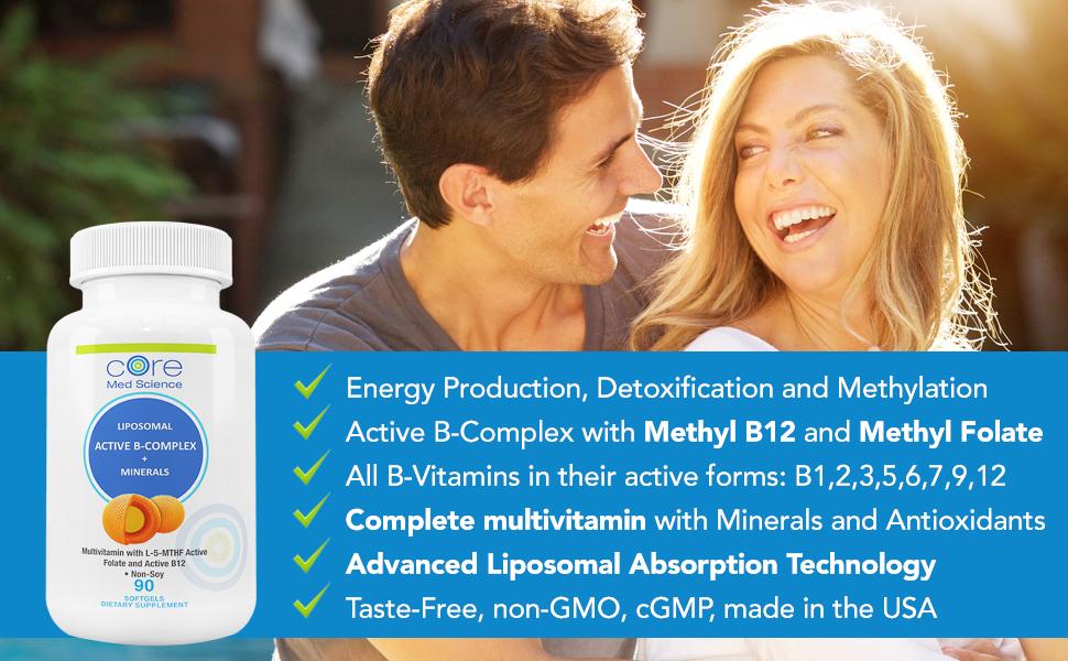 liposomal b-complex multivitamin core med science antioxidants minerals methyl b12 methyl folate