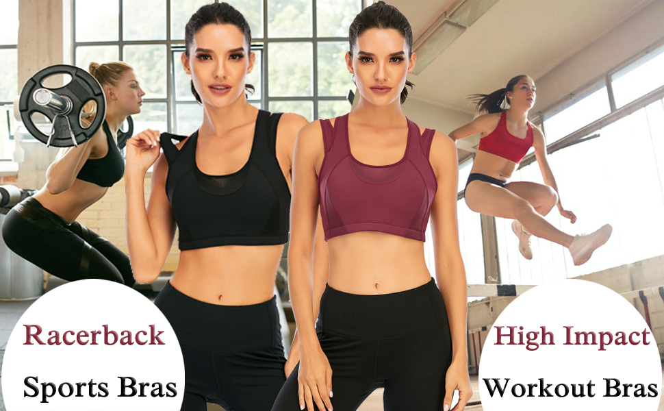 Women's Front Adjustable Lightly Padded Wirefree Racerback High Impact Sports Bra