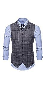 Mens Slim Fit Dress Vest Formal Premium Button Down Vest Single Breasted Vest