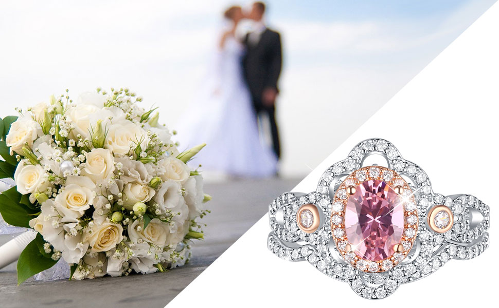 Newshe 2.5Ct Pink Sapphire Engagement Rings Set for Women Sterling Silver Wedding Ring Cz Size 5-10