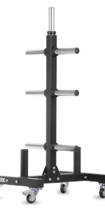 XMark Olympic plate weight tree with 7 plate holder pegs and two bar holders on the base with wheels
