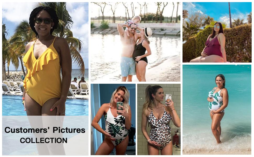 Tempotrek One Piece Maternity Swimsuits Ruffle Flounce Swimwear Falbala Monokini Deep V Neck