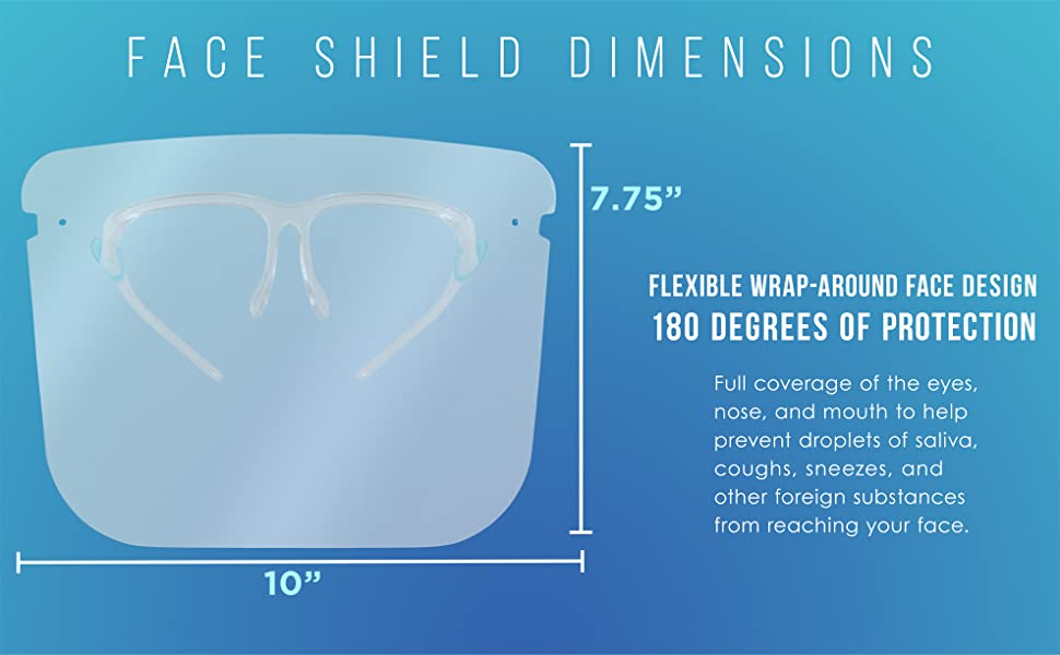 Salon World Safety Face Shields with Glasses Frames