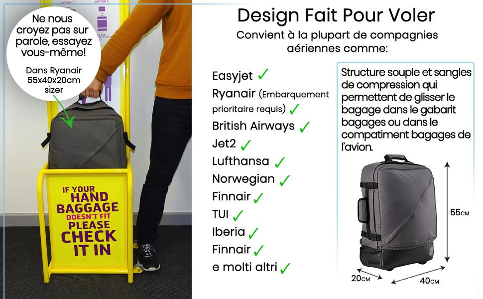 Cabine Designer chariot Wheelie Sac Main Sac à Roulettes Easyjet Ryanair