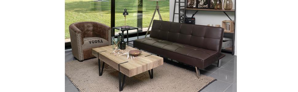 Homely - Sofá Cama de 3 plazas Apertura Clic-clac KOHTAO tapizado en Polipiel de 176 cm (Chocolate)