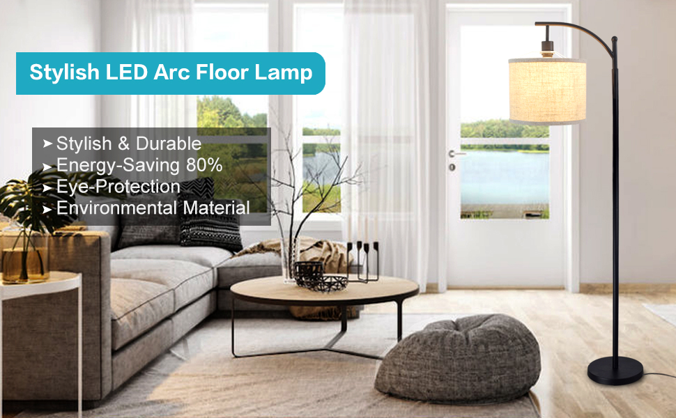 Modern Standing Arc Light with Tall Metal Pole and Hanging Fabric Drum Lamp Shade Standing Reading Lamp for Living Room//Bedroom//Office//Study Room 8W E26 Bulb- Warm Light DLLT Led Floor Lamp
