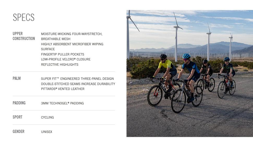 monaco II gel builder bike gloves specs