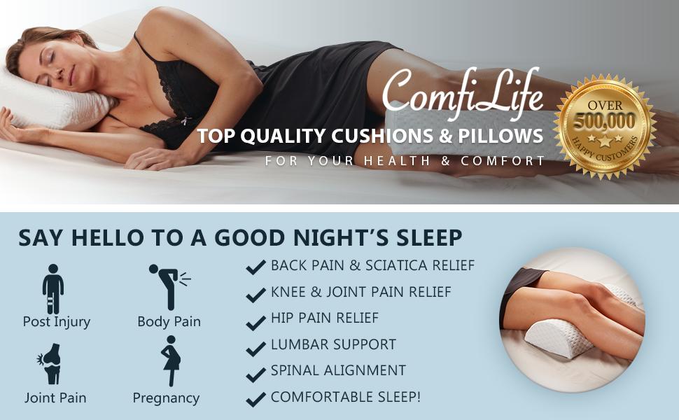 ComfiLife Bolster Pillow for Legs Knees Back