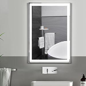 mirror bathroom with led mirrow with lites bath room