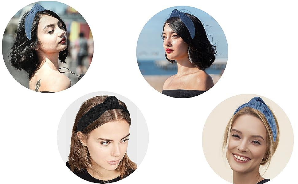 denim knotted headbands for women
