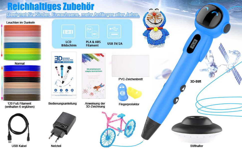 200M FILAMENT für 3D Stift ABS 10 Farben 3D Drucker 1.75mm 3D-Pen Starterset Pt