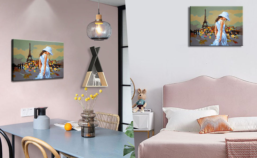 Amazon Com Wall Art For Bedroom Paris Decor Rustic Paris Girl Painting The Eiffel Tower Canvas Print Vintage Abstract Canvas Art Framed Teen Girl Room Decoration 12x16 Posters Prints