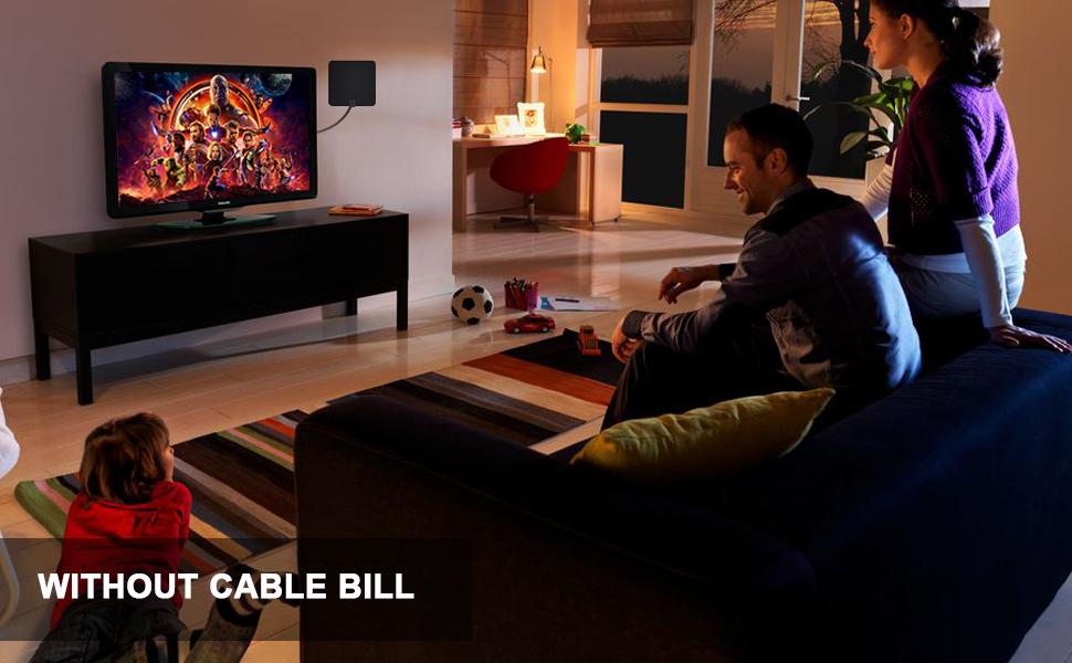 Antena Interior TV, Antena de TV Digital HD para Interiores, Antena de TV de Alcance de 240KM con Amplificador de Señal,Gratuita con Cable Coaxial de 5M, 4K 1080P, Antena de TV más