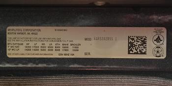 model number, appliance
