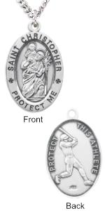 Sterling Silver Saint Christopher Oval Baseball Medal