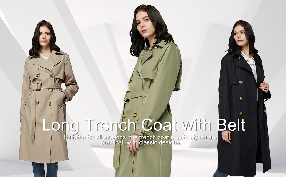 orolay long trench coat with belt double-breast windbreaker for women spring jacket