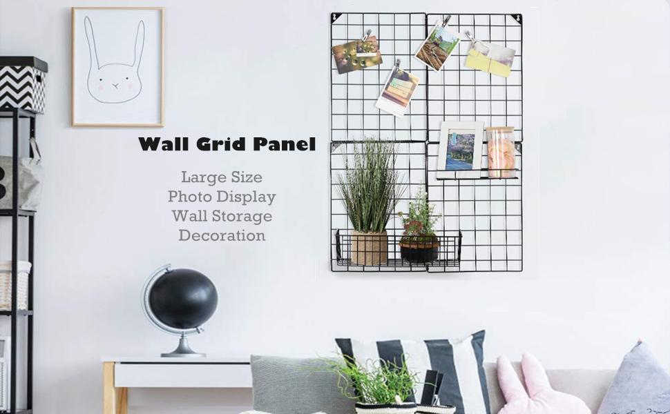 Amesii Wall Grid Panel Simple Design Plant Jewelry Organizer Photo Frame Multipurpose Decorative Black