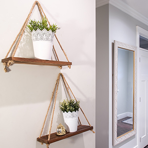 floating shelves swing string hanging shelf plant set small decorative farmhouse wooden rope wall