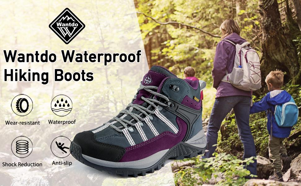 Wantdo Women's Waterproof Hiking Boots Winter Ankle Shoes